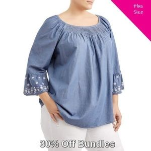 Embroidered Peasant Blouse, Chambray
